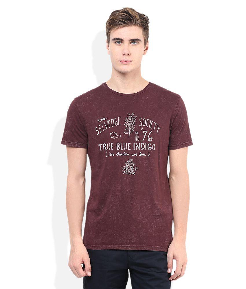 Celio Maroon Printed Round Neck T Shirt