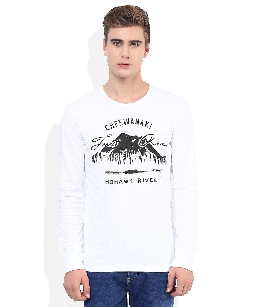 Celio White Round Neck T Shirt