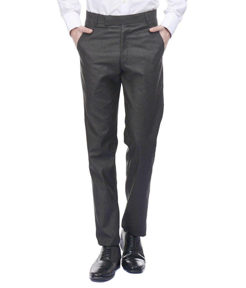 Shiv Black Cotton Blend Regular Fit Trousers