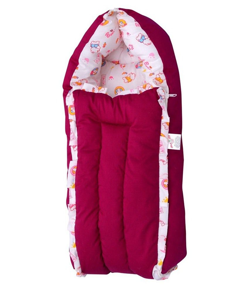 Jack & Jill Maroon & White Baby Bedding Set, Baby Bed, Baby Carrier & Sleeping Bag Just Born