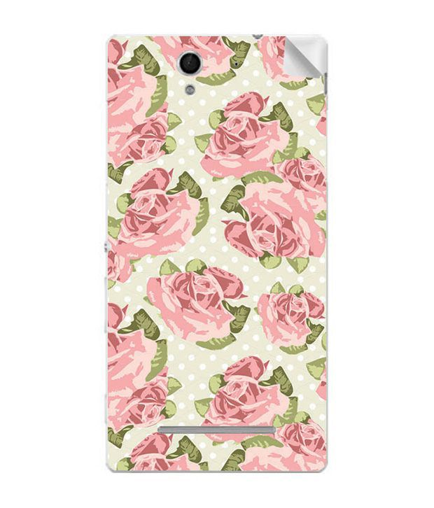 ezyPRNT Skin Sticker for Sony Xperia C3 Dual -Pink Rose Painting