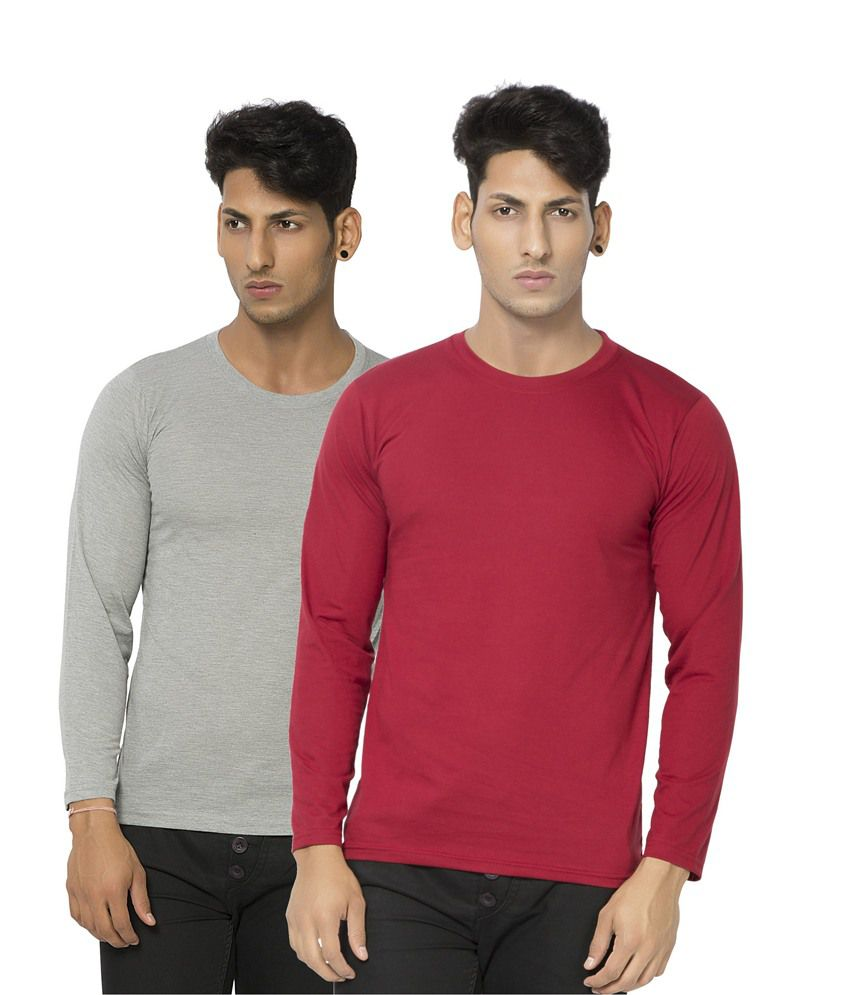 Alan Jones Maroon Milange Full Cotton Tshirt-Pack Of 2