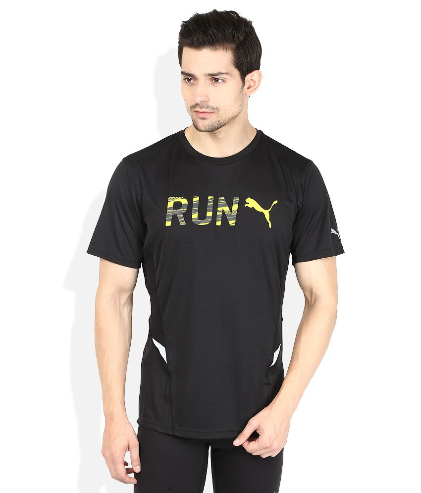 Puma Black Solid Round Neck T Shirt