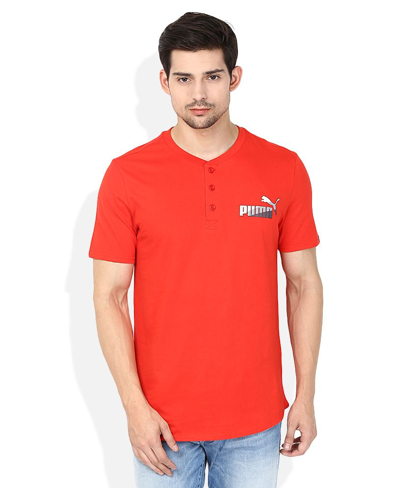 Puma Red Solid Henley T Shirt