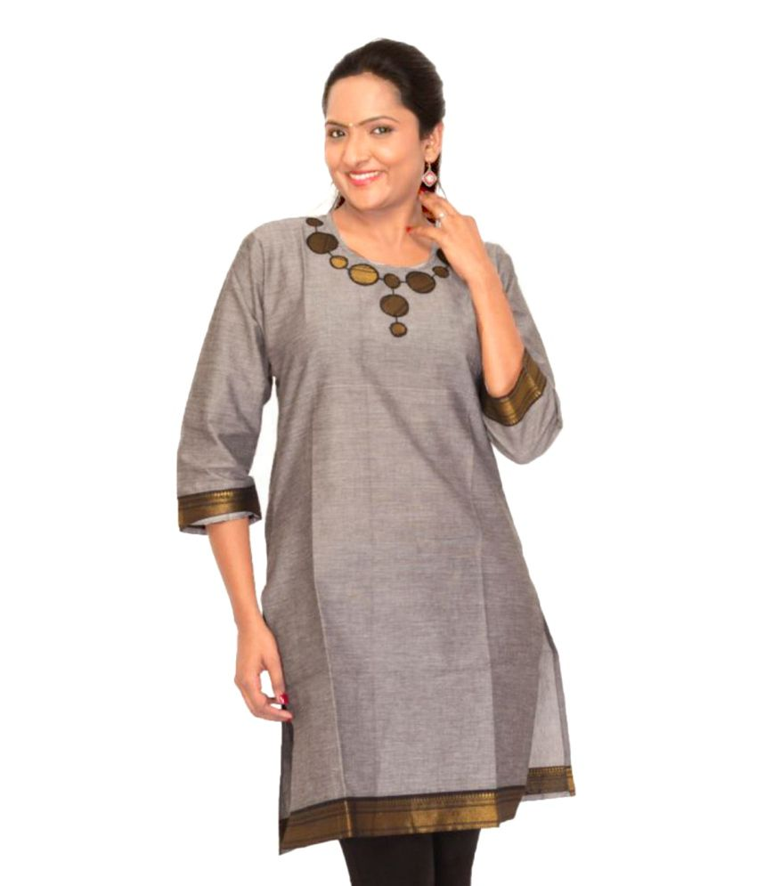 Rishika Gray Cotton Kurti
