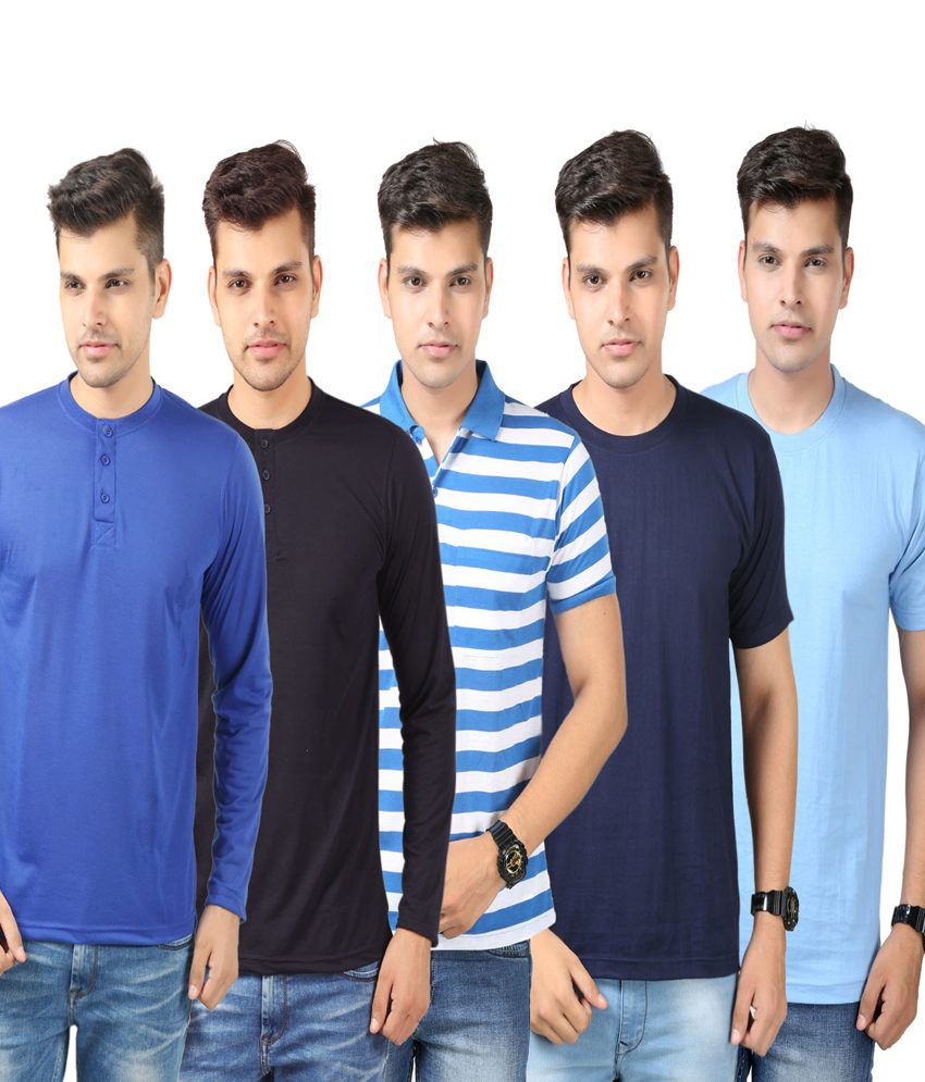 Etoffe Blue Cotton Blend T-shirts- Pack Of 5