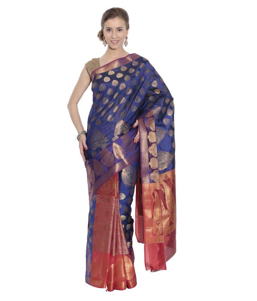 Kataan Bazaar Blue and Red Banarasi Handwoven Art Silk Saree with Blouse Piece