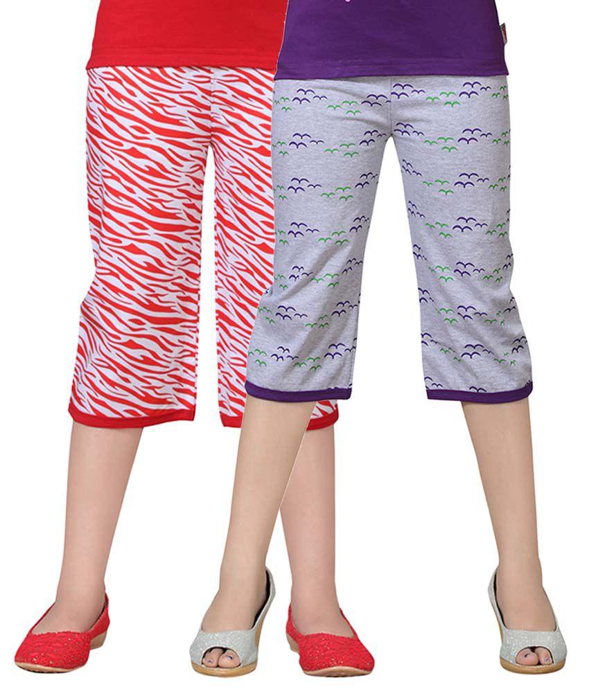 Sinimini Multicolor Cotton Capris - Pack Of 2