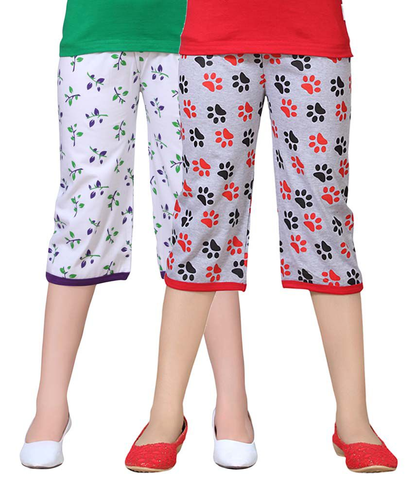 Sinimini Multicolor Cotton Capris - Pack Of 2