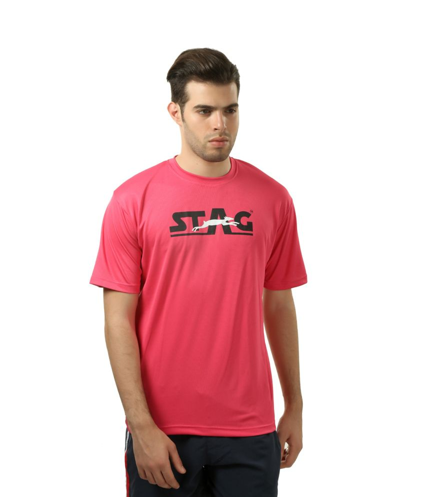 Stag Pink Polyester T-shirt