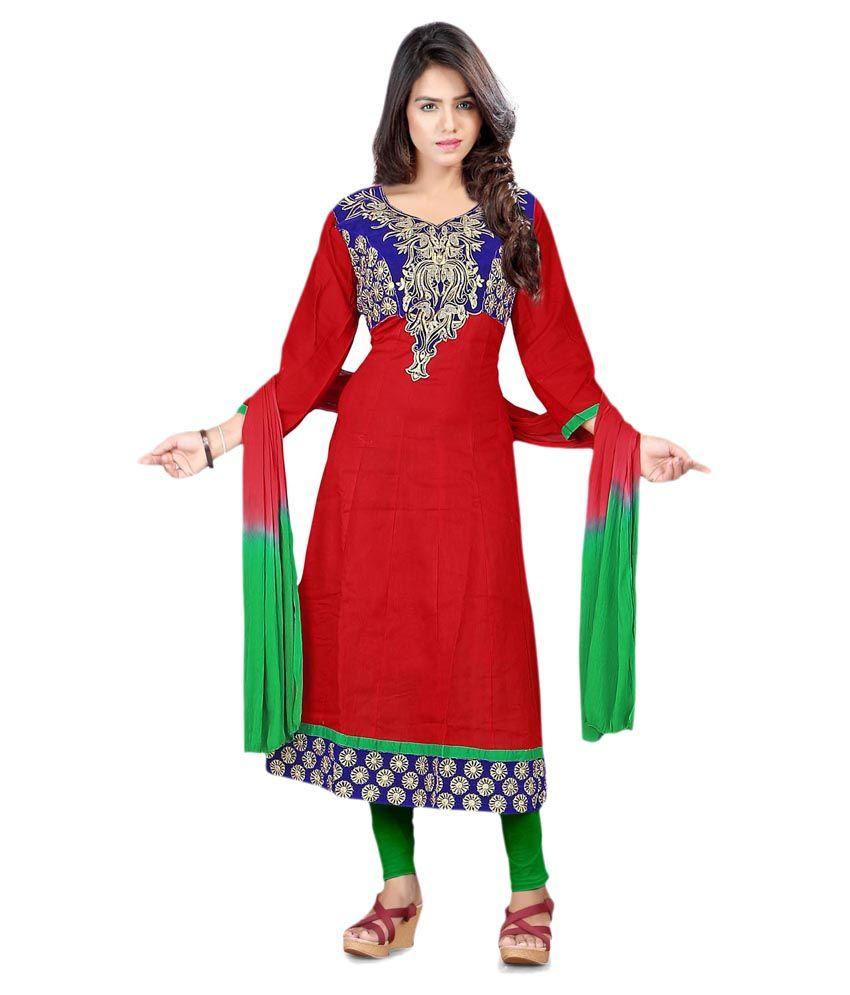 Rewa Enterprises Red Cotton Stitched Suit