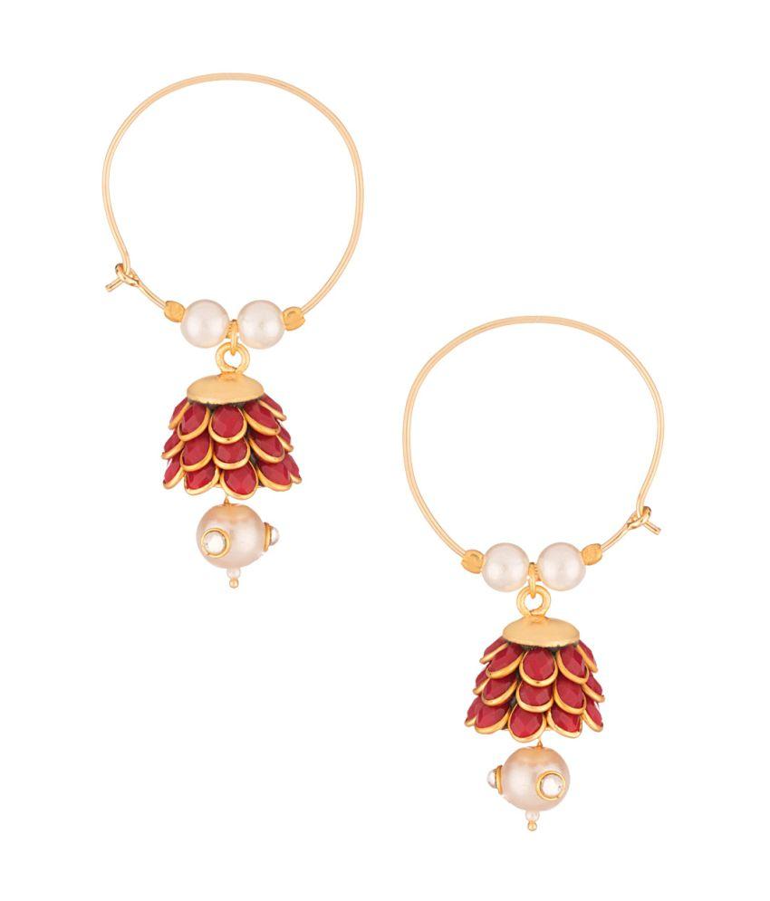 Voylla Pearl Drop Gold Toned Hoop Earrings