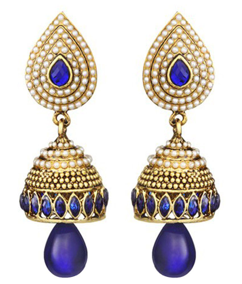 Kesari Golden & Purple Pearl Jhumkis