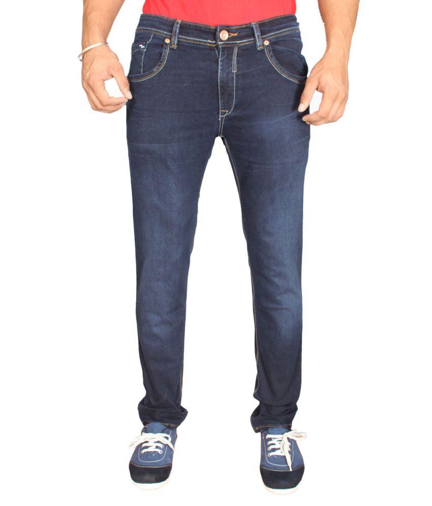 Spykar Men Slim Fit  Lycra Jeans  Dark  Blue Color