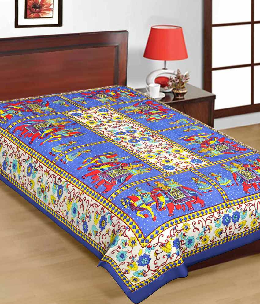 Bed sheets with price -  Uniqchoice Pure 100 Cotton Jaipuri Traditional Printed 2 Single Bed Sheet Combo