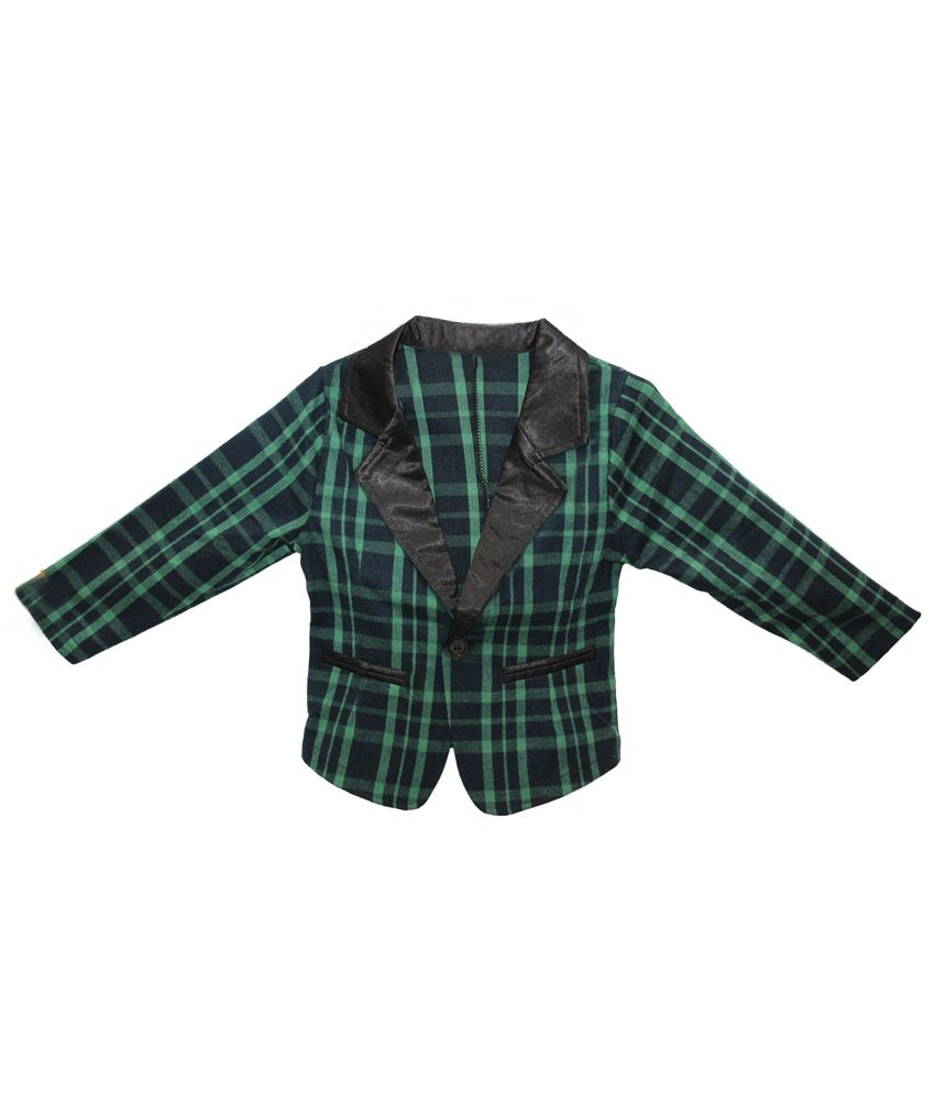 Kiiwi Girls Cotton Jacket / Blazer - Green & Black