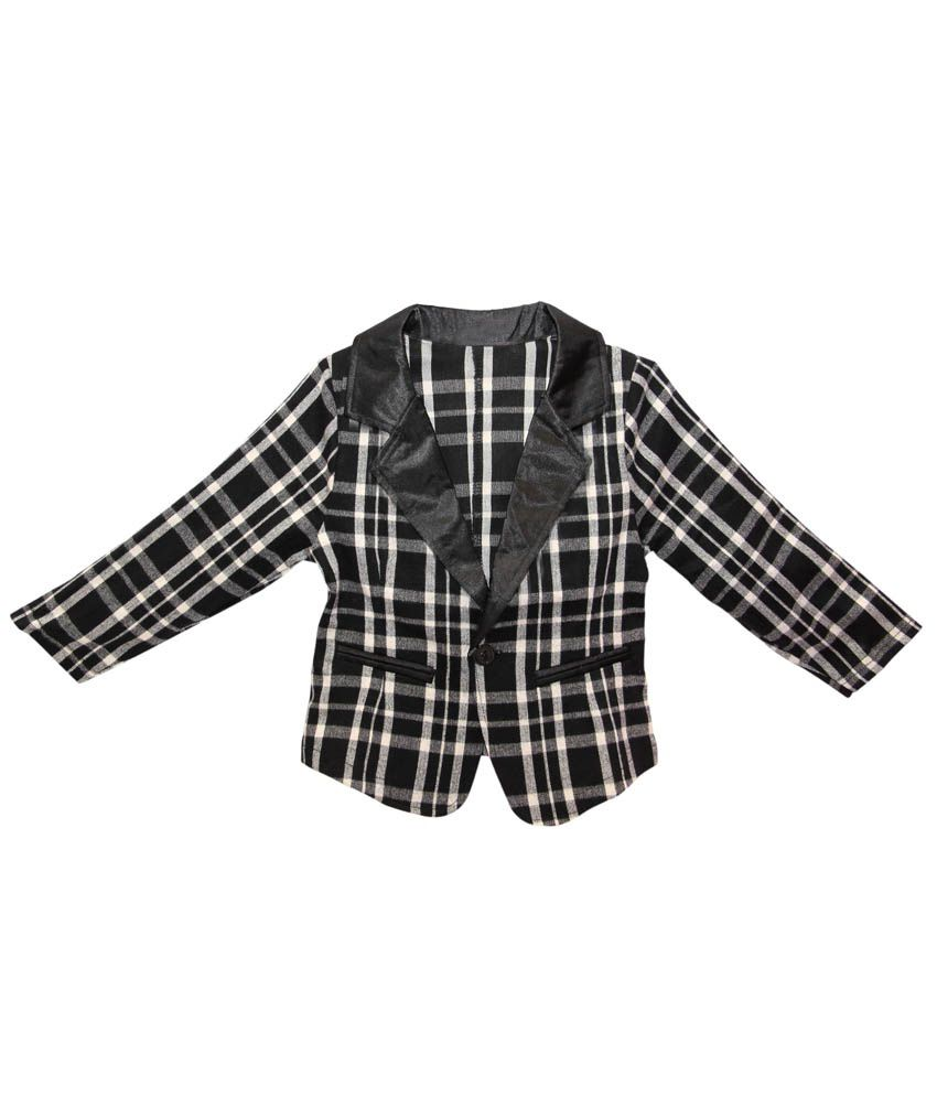 Kiiwi Girls Cotton Jacket / Blazer - White & Black