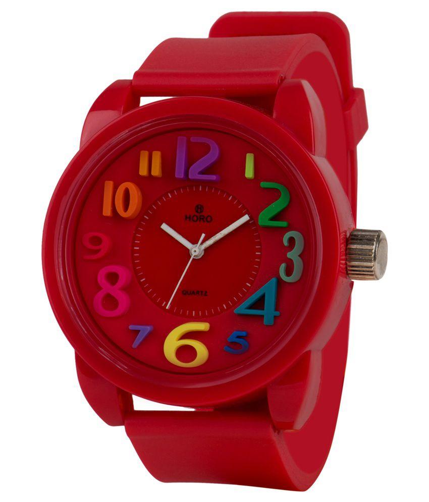 Horo Red Strap Analog Watch