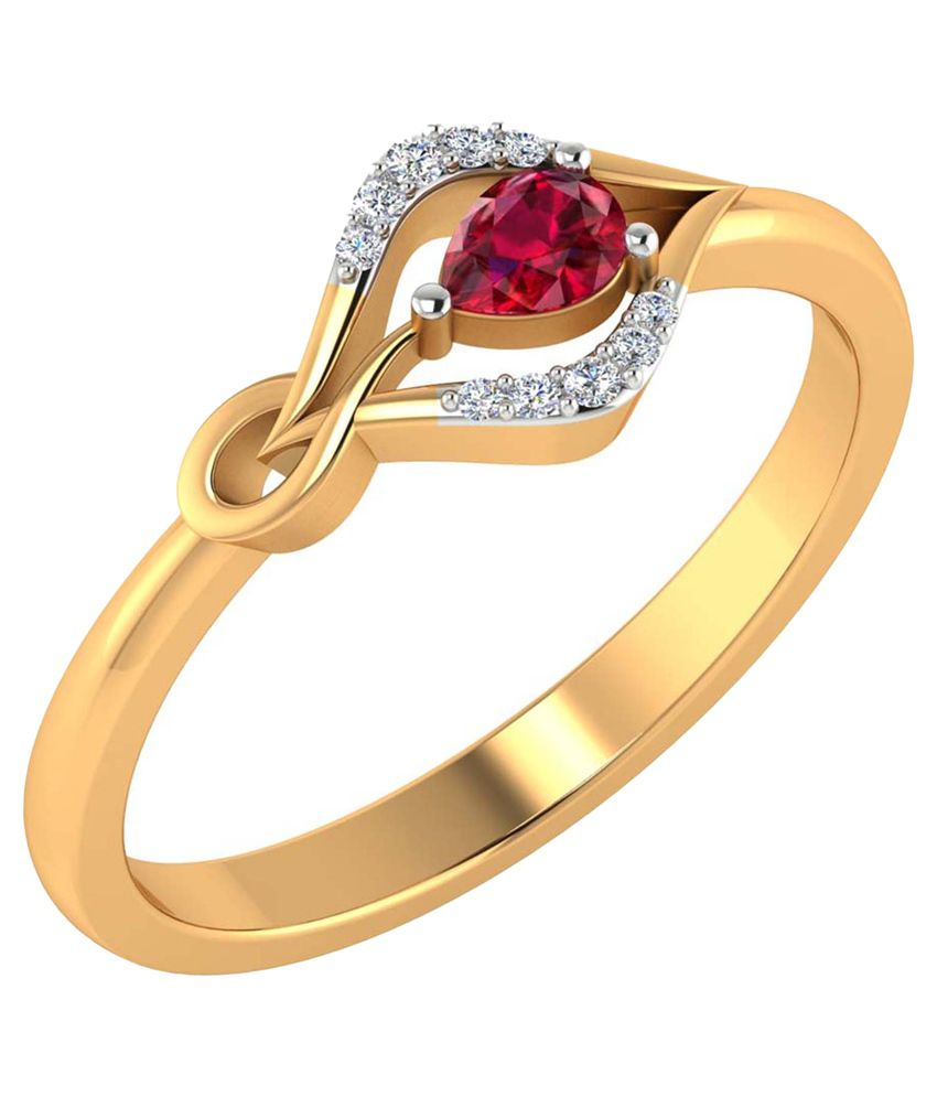 Jewels Of Jaipur Red 14Kt Gold Ring