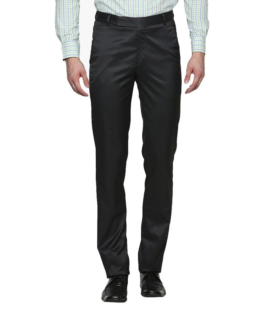 S&a Black Regular Fit Formal Trouser