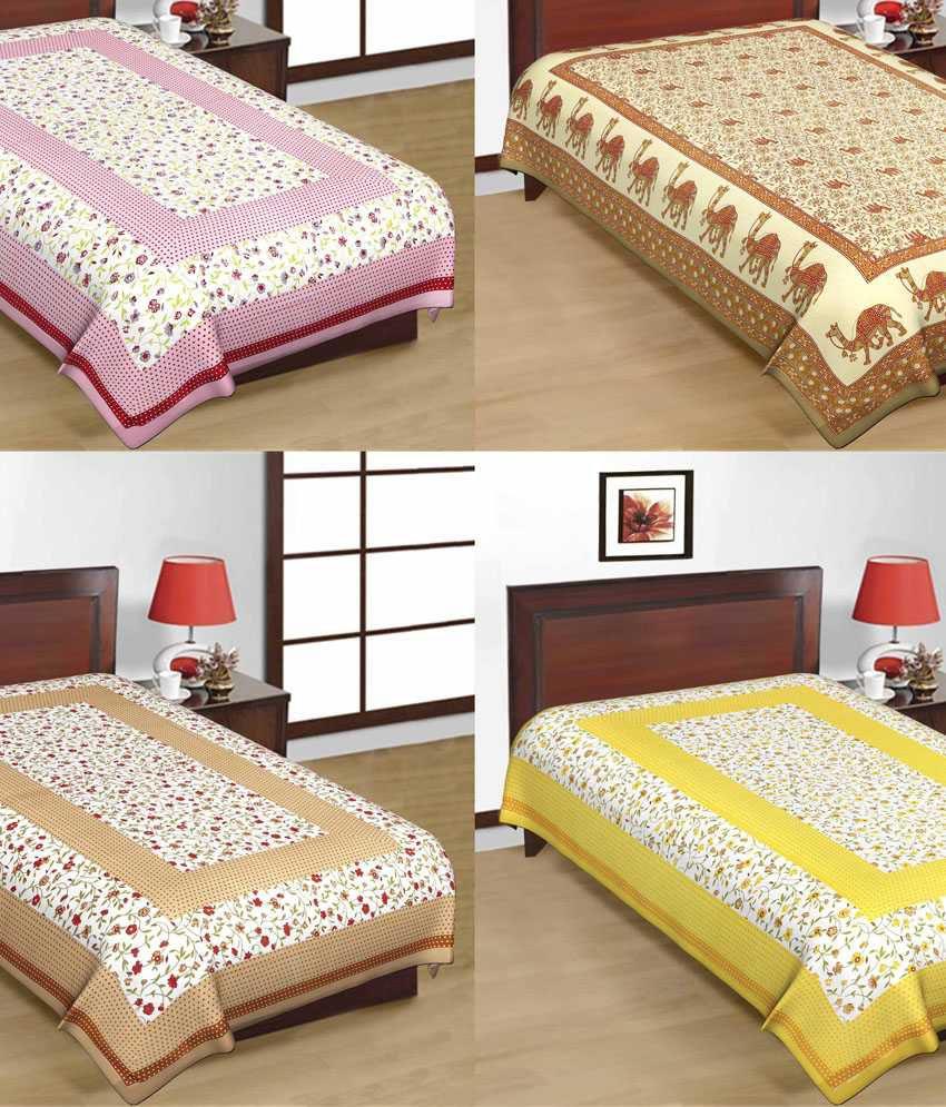 e21b319903 UniqChoice Pure 100% Cotton Jaipuri Traditional Printed 4 Single Bed Sheet  Combo - Buy UniqChoice Pure 100% Cotton Jaipuri Traditional Printed 4 Single  Bed ...