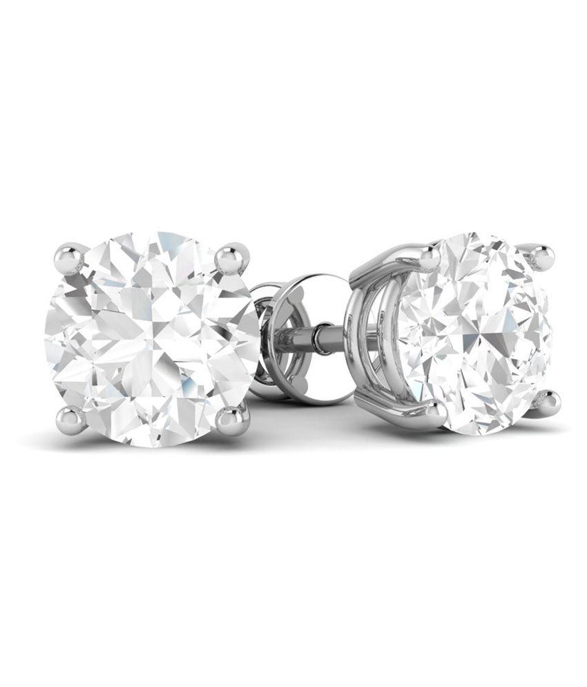 Vijisan 1.00 Ct. 925 Sterling Silver Single Stone Solitaire Stud Earrings For Women