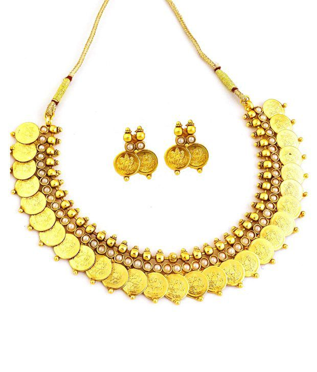 YouBella Pearl Traditional Temple Coin Necklace Set with earrings