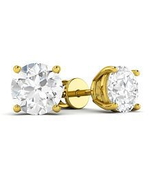 Vijisan 1.00 Ct. 18K Yellow Gold Plated Silver Silver Single Stone Solitaire Stud Earrings For Women