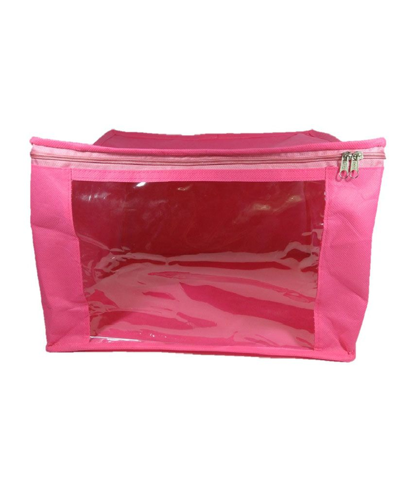 Addyz Pink Large 10 Inches Non-Woven Saree Cover