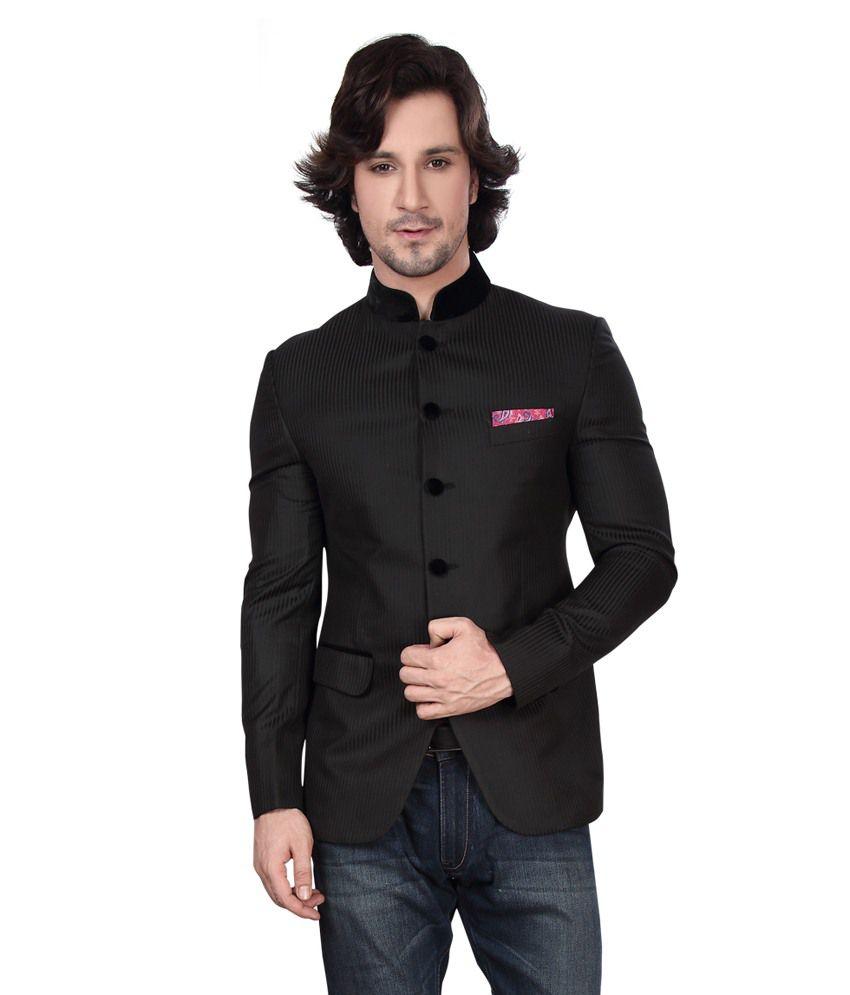 Dheerajsharma Black Cotton Blend Blazer