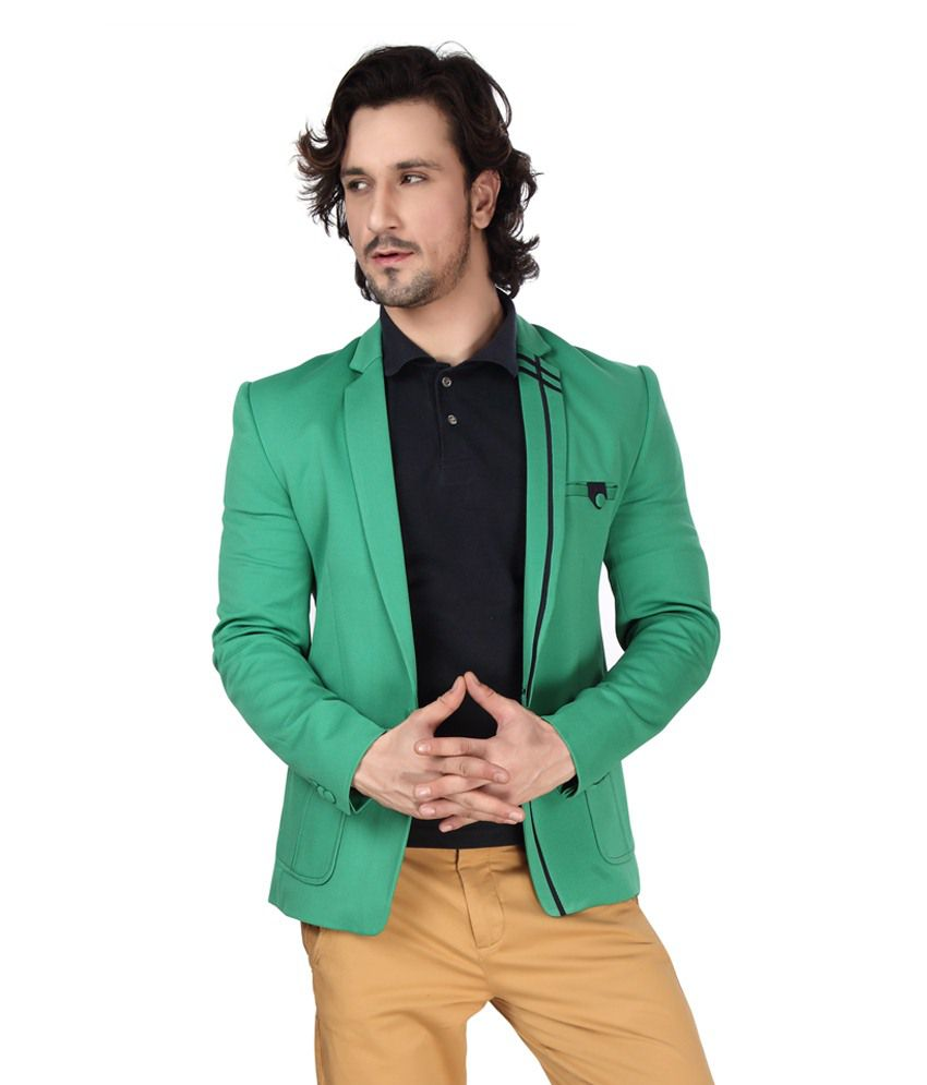 Dheerajsharma Green Cotton Blend Blazer