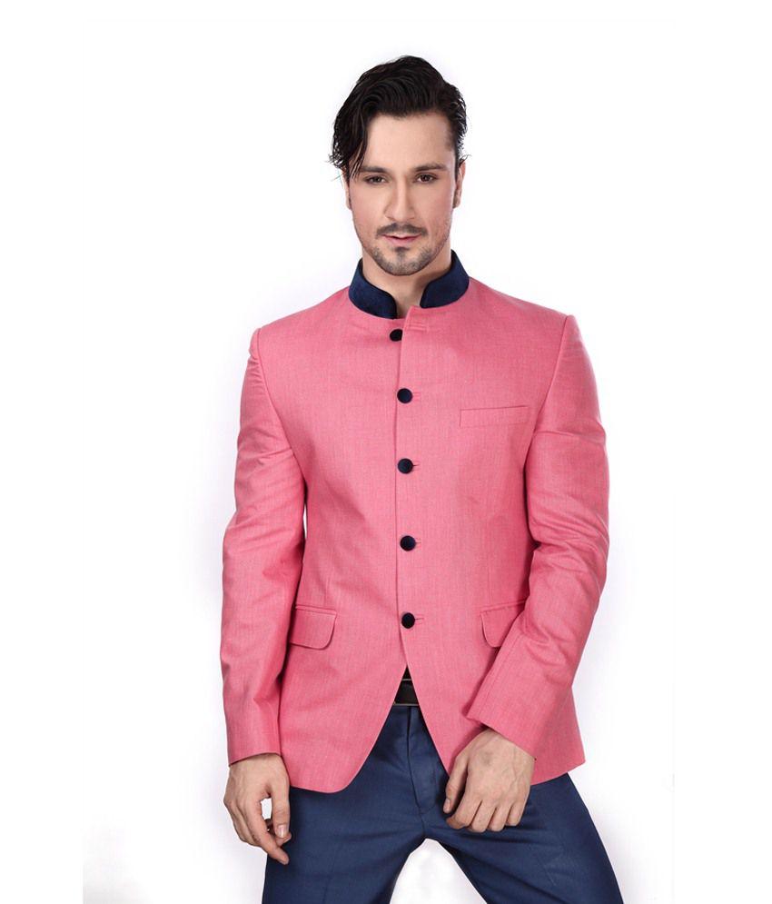Dheerajsharma Pink Cotton Blend Blazer