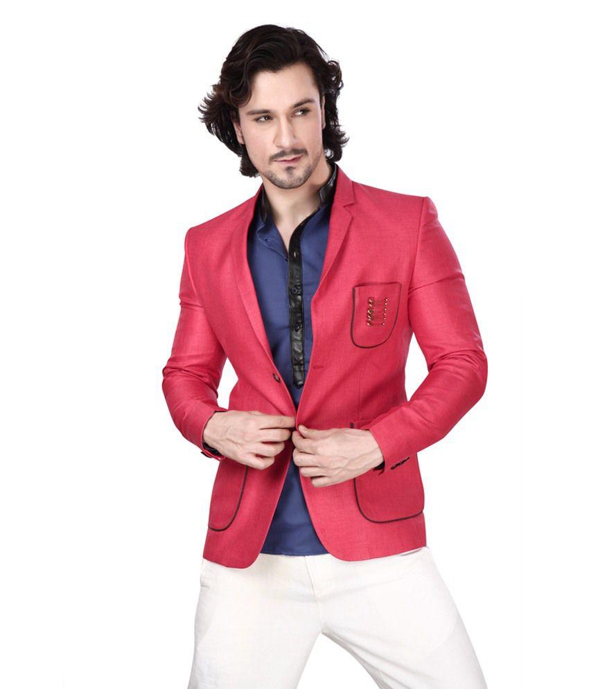 Dheerajsharma Red Linen Blazer