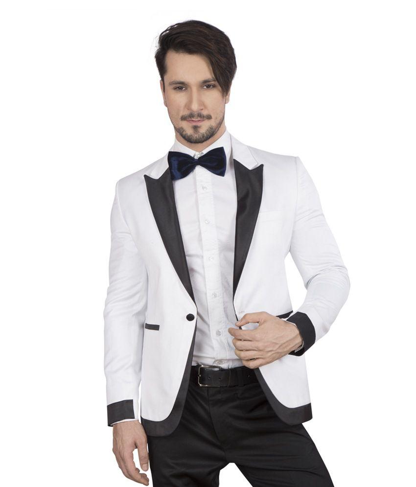 Dheerajsharma White Cotton Blend Suits