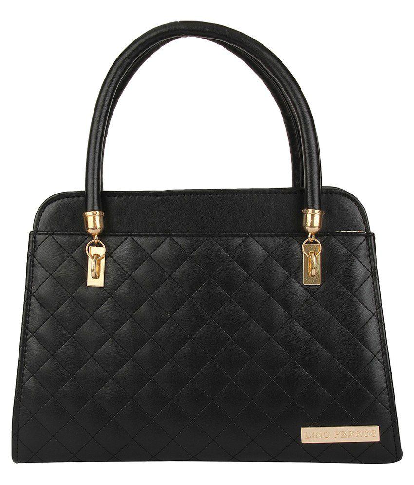 Lino Perros Black Leatherite Ladies Shoulder Handbag