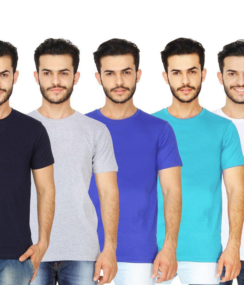 London Police Multicolor Cotton T-Shirt - Set Of 5