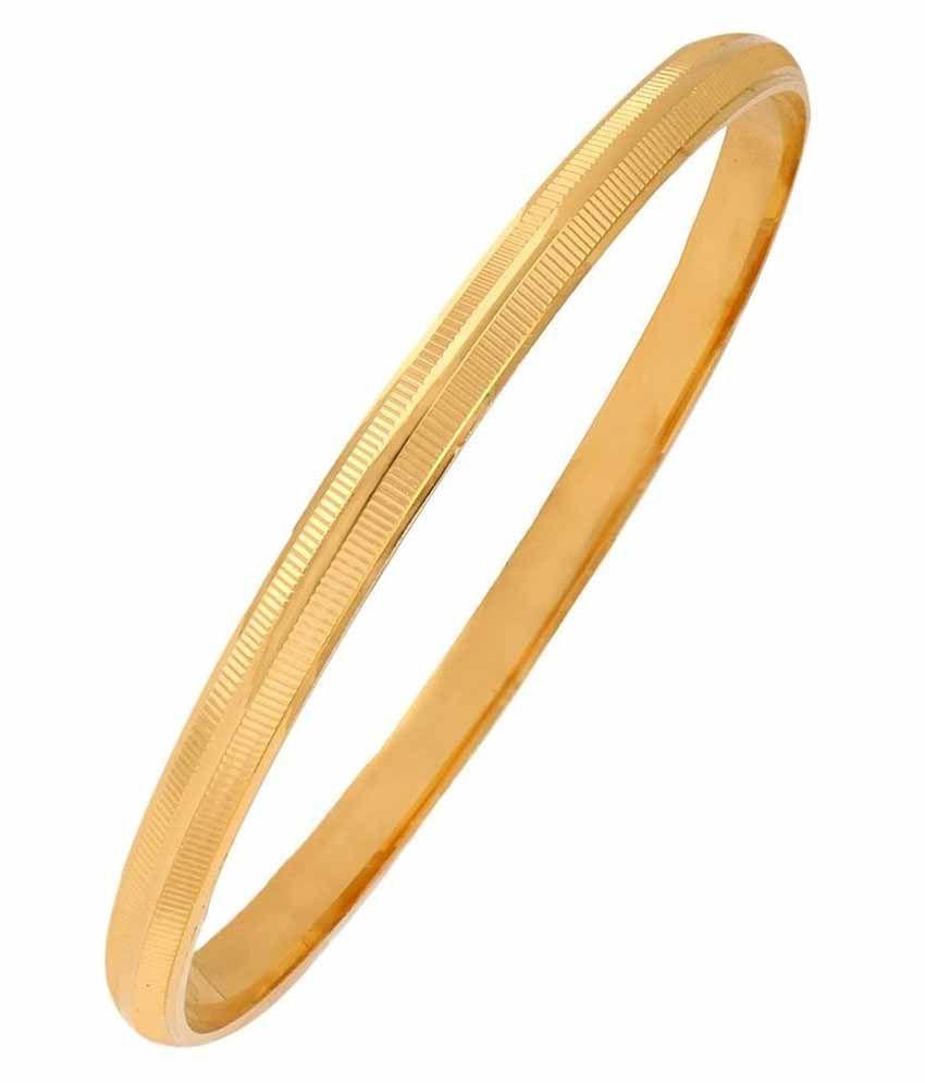 The jewelbox 22k gold plated stripe punjabi sardarji sikkh kada bangle bracelet