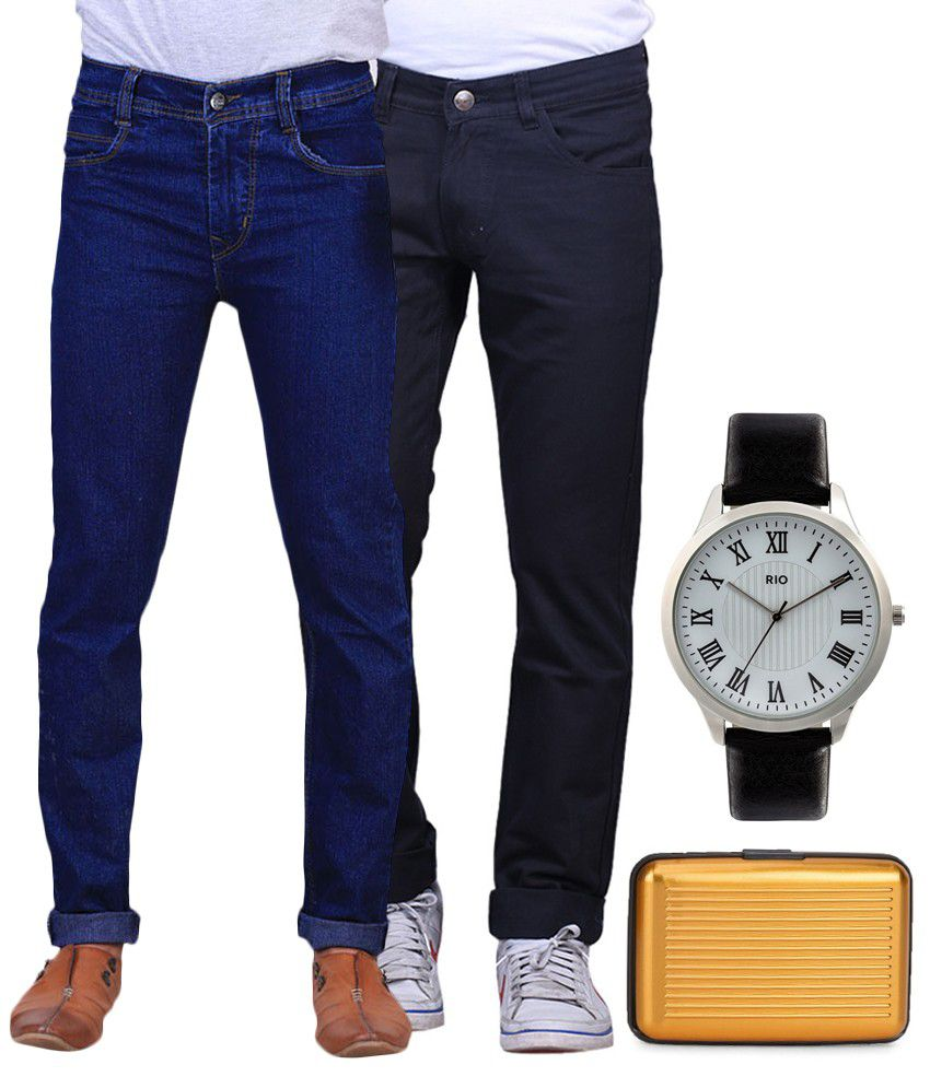 X-cross Blue Regular Fit Jeans With Watch & Cardholder