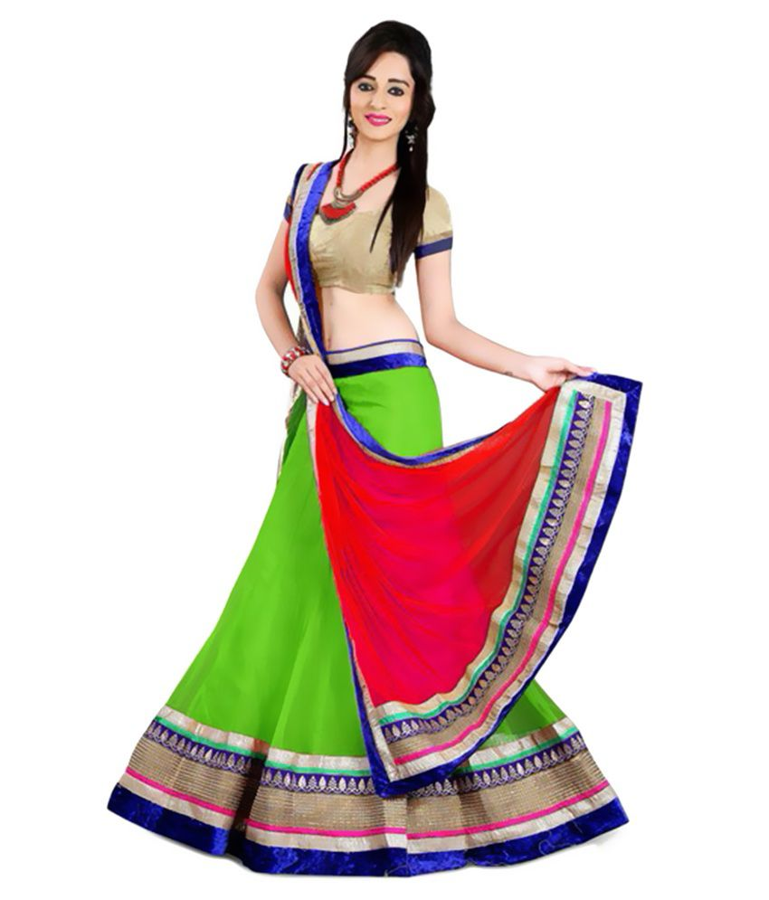 Anu Clothing Green Net Unstitched Lehenga