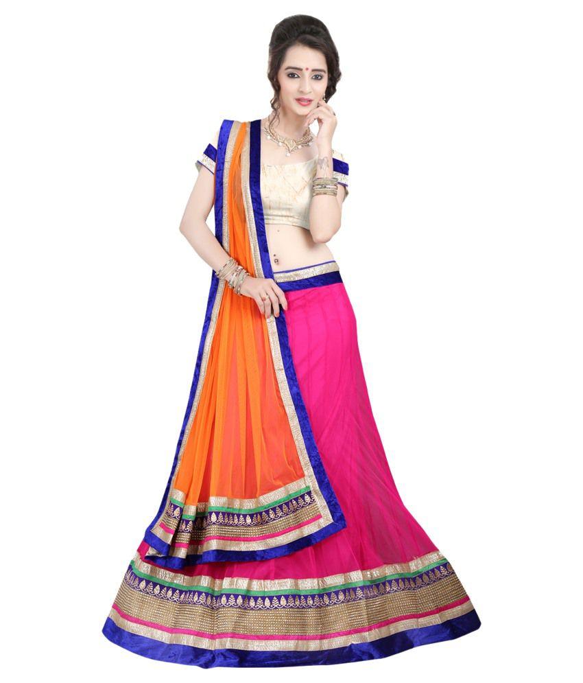 Anu Clothing Pink Net Lehenga
