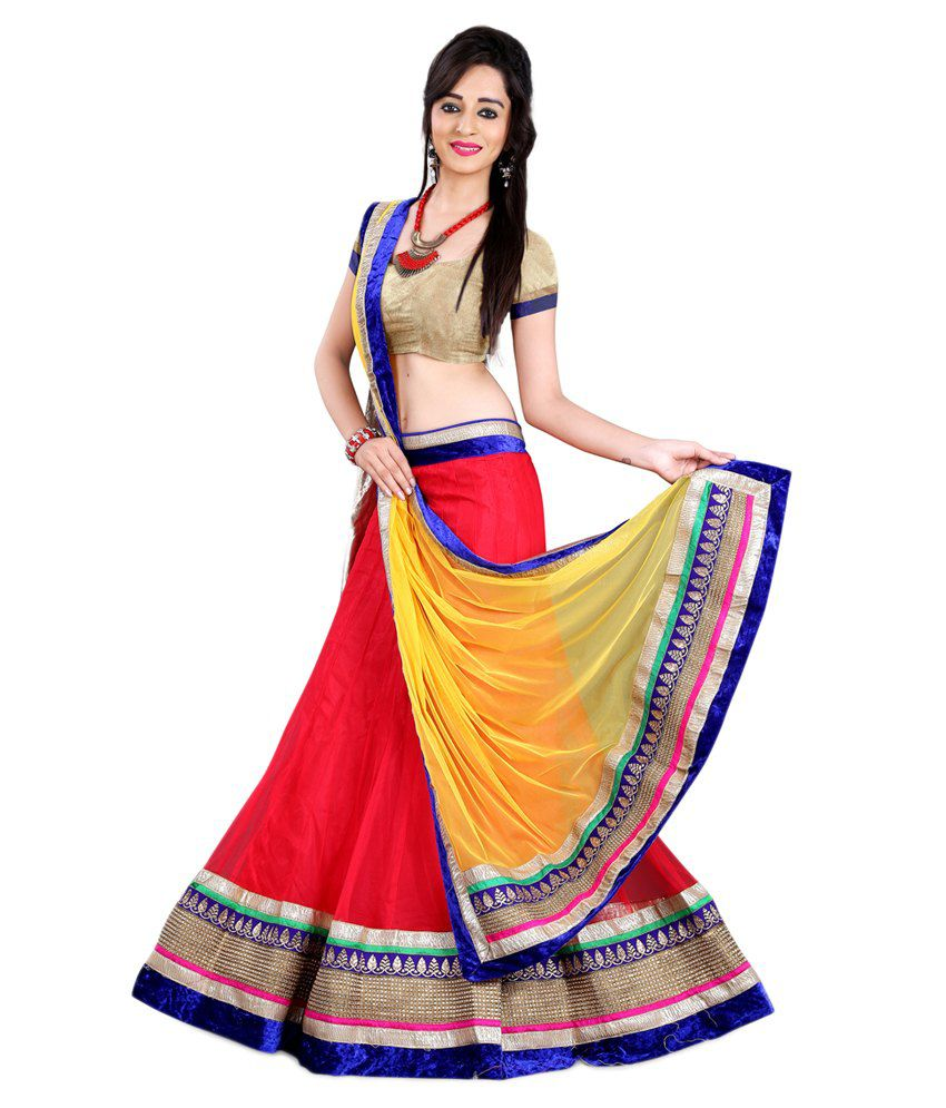 Anu Clothing Red Net Lehenga Buy