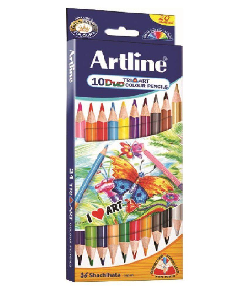 Art Line Questions : Artline tri art duo colour pencil set of pack