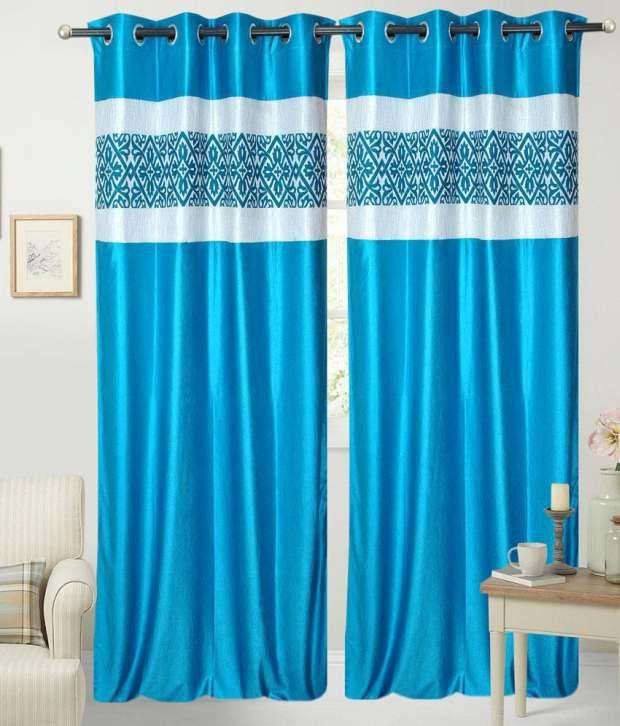 HSR Collection Aqua Patch Long Door Eyelet Curtains Buy 1 Get 1 ...