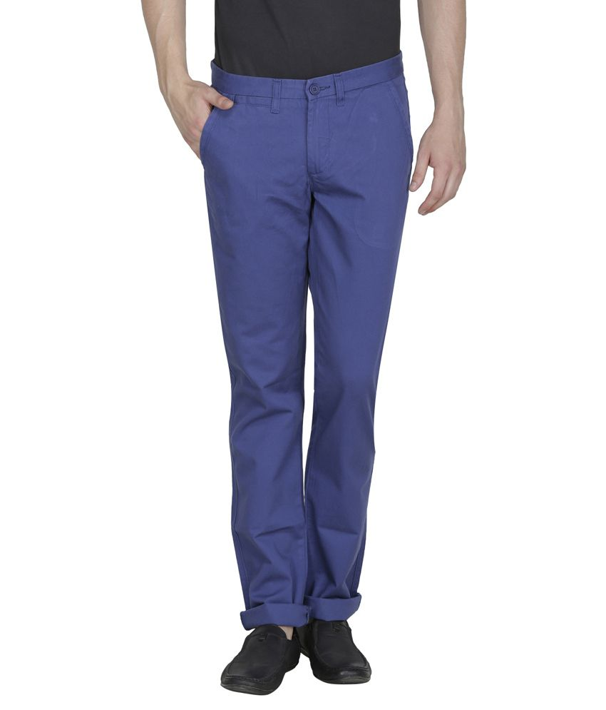 United Colors Of Benetton Blue Slim Fit Casual Trouser Chinos