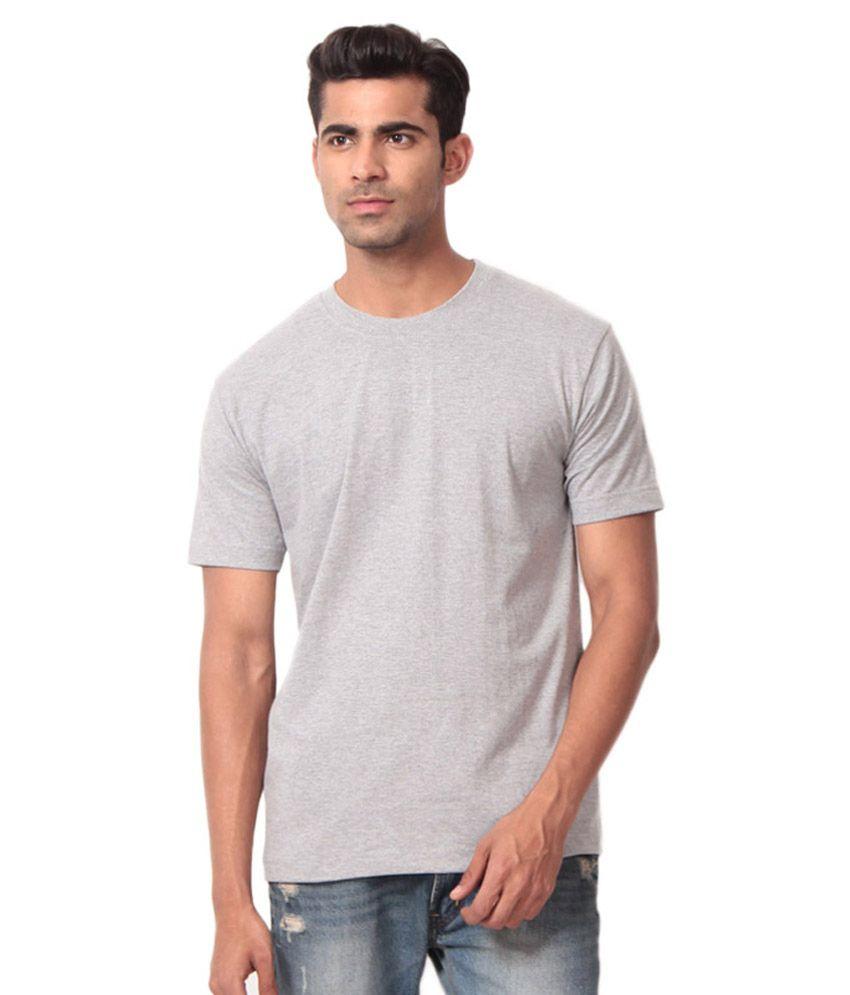 Aj Garments Grey Cotton Blend T-shirt