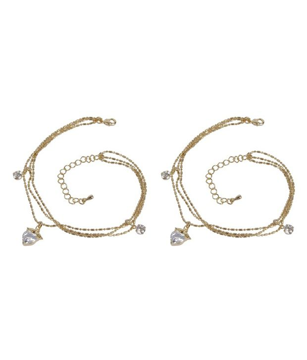 Much More Gorgeous Heart Design Gold Plated 1Pair Fashion Anklet/Payal