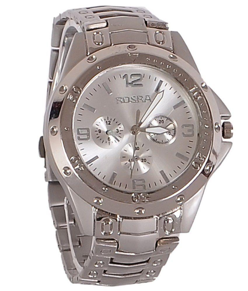 Rosra silver steel analog watch buy rosra silver steel analog watch online at best prices in for Rosra watches