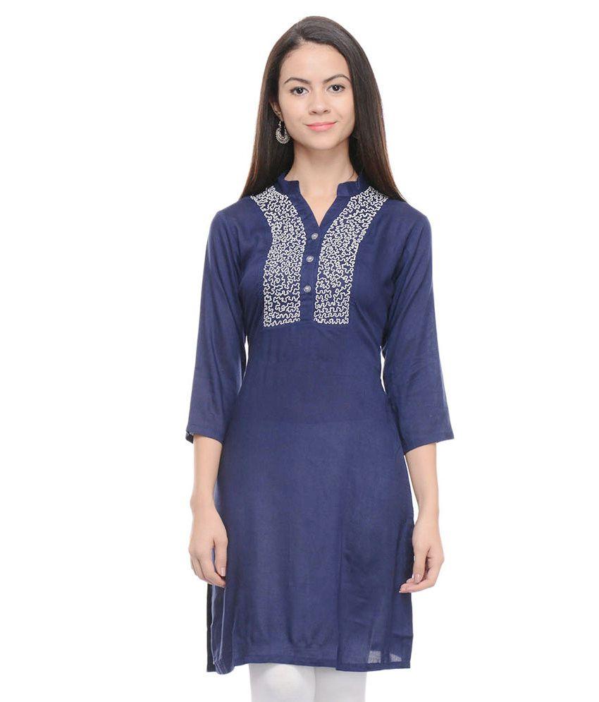 Sritika Blue Cotton Kurti