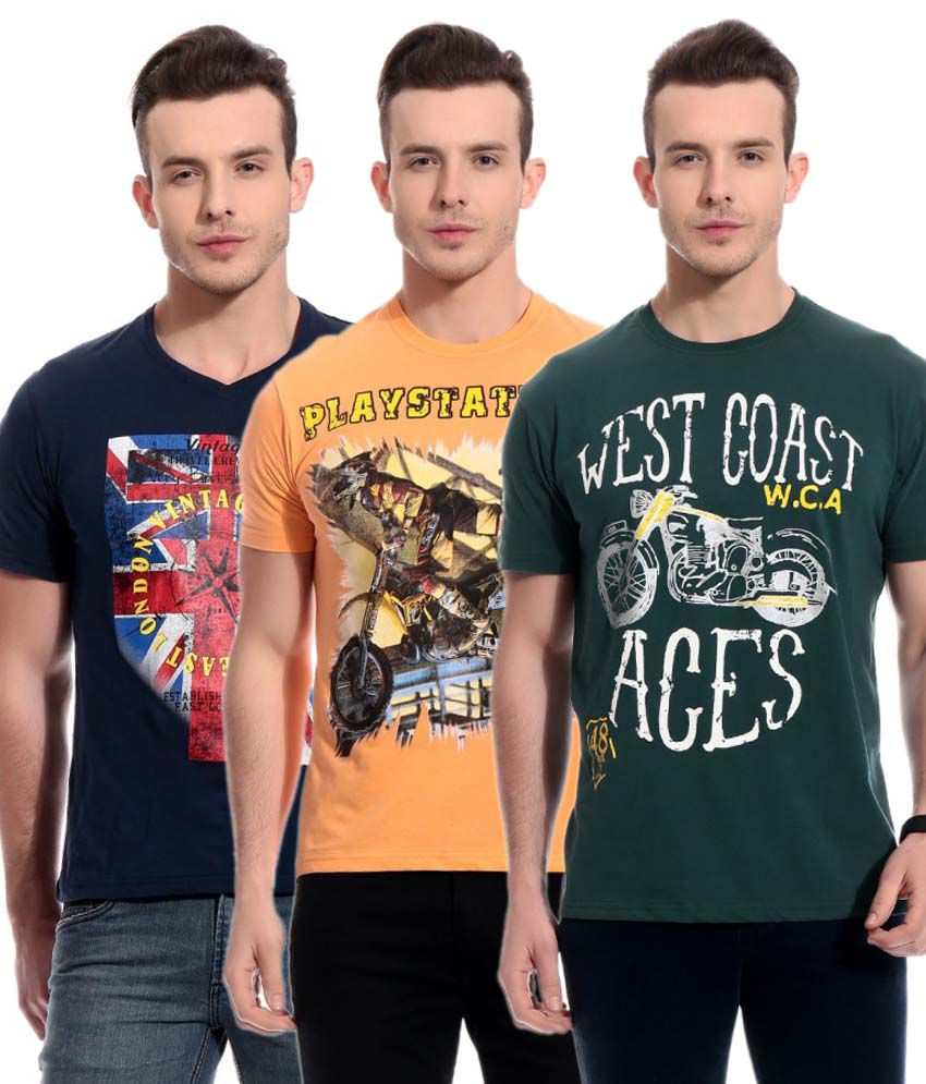 Tab91 Multicolour 100 Percent Cotton Round Neck Printed T Shirts Pack Of 3