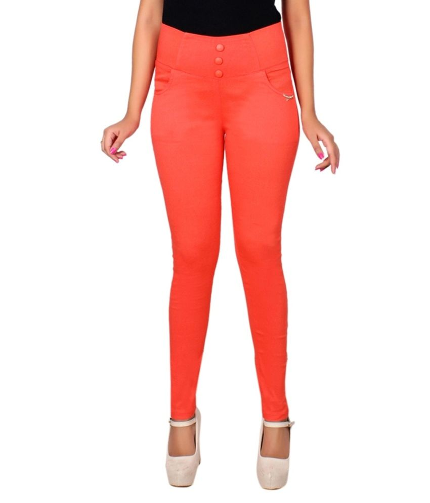 Lgc Orange Poly Cotton Jeggings